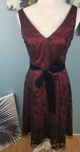 Adrianna Papell Burgandy Black Lace Dress Size 4
